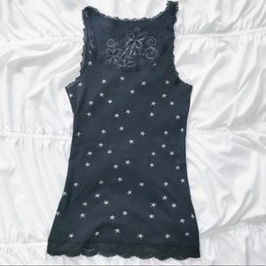 Kirra Black and Silver Star Lace Long Tank Top